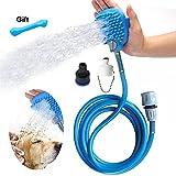OfsPower Hund Dusche Spritze mit Bürste, Pet Baden Werkzeug Reinigung Handschuhe Waschmaschine Hunde Haar Entferner Fellpflege mit 7,5Fuß Schlauch und 2Adapter, innen-/Außeneinsatz Bad