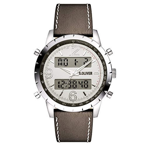 s.Oliver Herren-Armbanduhr Analog Digital Quarz Leder SO-15146-LDR