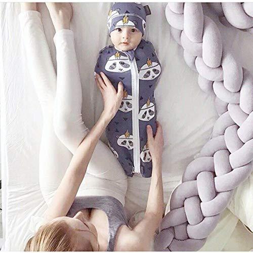 Vier Stränge Bettumrandung Kinderbett Baby Sternchen Baby Nestchen Weben Bettumrandung Kantenschutz Kopfschutz für Babybett Bettausstattung Kinderbett Stoßstange(2 Meter, Grau)