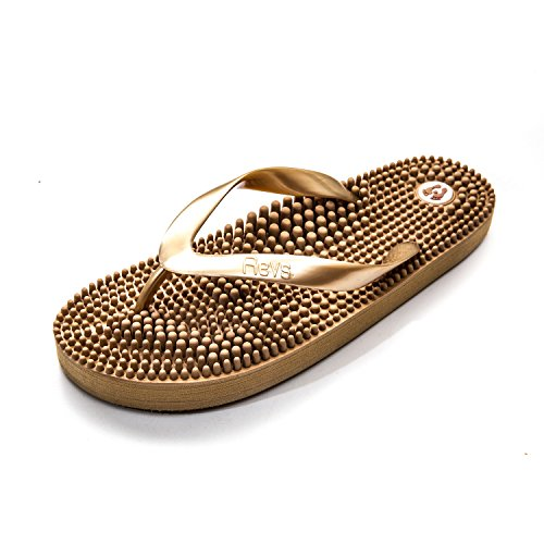 Revs Light Flip Flop, Fussreflexzonenmassage Massage Flip Flops by Kenkoh Europe, Gold EU39.5
