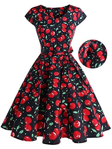 IVNIS Damenkleid Floral Blumen Muster mit Taschen Vintage Kleider 50jähriger Rockabilly Cap-Sleeve Cocktail Kirsche2