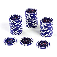 50 Poker-Chips Laser-Chips Wert 10 - 12g Metallkern Poker Texas Hold`em Black Jack Roulette – blau – reflektierend