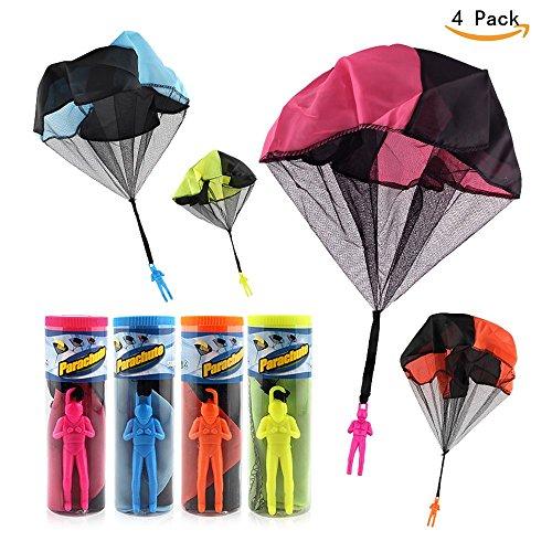 Afufu Fallschirmspringer Spielzeug, 4 Stück Kinder Hand Werfen Fallschirm Fallschirmspringer Wurf Parachute Kinderdrachen Spielzeug Geschenk für Draußen(Produkt mit Verpackungsbox)