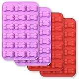 Cozihom Lot de 4 moules en silicone en forme d'os 18 cavités de qualité alimentaire pour chocolat, bonbons, gâteau, pudding,