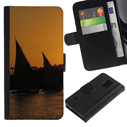 Lead-Star (Nature Sunset Sail) Colorful Portafoglio In Pelle Stampa Per Copertura Cassa Caso Case Pelle Per SAMSUNG Galaxy S5 V / i9600 / SM-G900