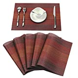 Homcomoda Place Mats Washable PVC Dining Table Mats Non-slip Heat-resistant Vinyl Placemats Set of 6 (Red)