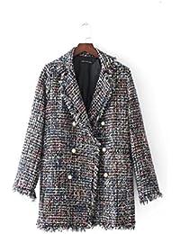 VB Las mujeres Coat Unión hilera doble hebilla lana Perla poco fragante