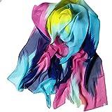 Las mujeres de moda de tinta china abrigo del estilo de la señora bufanda de la gasa del mantón bufandas (Azul)