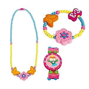 BINO 3 TLG. Set Holzschmuck Mädchenschmuck Kinderschmuck Motiv Blume Rosa – Halskette Armband und Armbanduhr