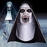 EFINNY Máscara de monja de látex Horror de Halloween cara completa cubierta con pañuelo para...