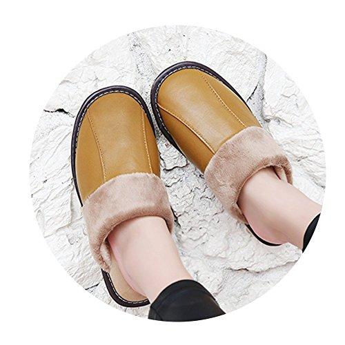 TELLW Uomo e Donna Pantofole Calde Invernali Pantofole morbide in Cotone per Interni Scarpe Invernali morbide a Permeabilità Morbida Giallo
