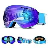 Upgrow Skibrille Skifahren Brille Schneebrille mit Anti-Nebel und UV-Schutz, Großes Sichtfeld Kletterspiegel Kletterbrille Skibrille Für Herren und Damen
