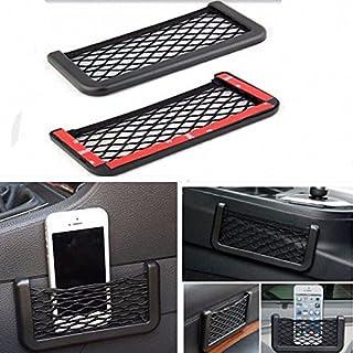 AOHANG Schwarze Universal-Autositzrückentasche, Aufbewahrungsnetztasche aus Nylon fürs Anbringen im Auto, zur Unterbringung von Handys und anderen Wertsachen