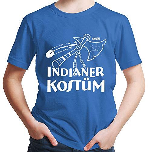 Kind's Kostüm Prinz Royal - HARIZ Jungen T-Shirt Indianer Kostüm Karneval Kostüm Plus Geschenkkarte Royal Blau 128/7-8 Jahre