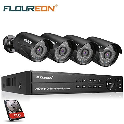 Hdd Recorder Ethernet (FLOUREON Videoüberwachung 8CH AHD 1080N ONVIF DVR Recorder mit 1T Festplatte + 4x 3000TVL 2.0MP 1080P Überwachungskamera CCTV Wasserdicht Sicherheitskamera P2P Bewegungsmelder)