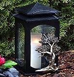 ♥ Grablaterne Grablampe mit Baum des Lebens 28,0cm Schwarz Bronze incl. Grabkerze Grablicht Grabschmuck Grabdekoration Grableuchte Laterne Kerze Lampe Lebensbaum