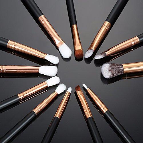 12 Pcs Professional Makeup Brushes Set for Eyeshadow Foundadtion Eyeliner Lips and More (Black)