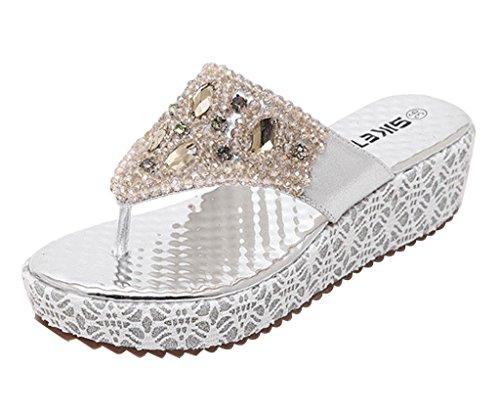 Minetom Sandálias De Moda Feminina Faux Strass Frisado Chinelos Chinelos De Verão Com Prata Salto Cunha