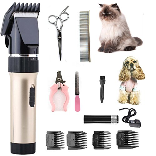 [2018 neue Version] Professionelle Hund Katze Pferdepflege Clippers Kit Clippers Low Noise PET Clippers wiederaufladbare schnurlose Hund Trimmer Pet Grooming Tool professionelle Hund Haarschneider mit Kamm Führungen Schere Nagel-Kits für Hunde Katzen und andere Tiere