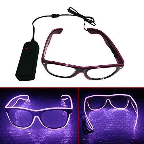 El Wire LED Gläser, Spezielle Shutter Light Monochrom EL Draht Glow Shades Brillen Brillen W/Batterie Case Controller für Rave Kostüm Party DJ Musik Party Halloween Weihnachtsgeschenk lila