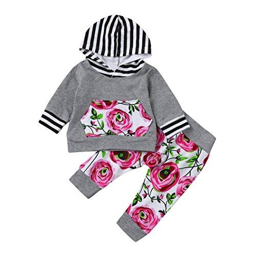 Neugeboren kleider Hirolan 2pcs Kleinkind Baby Junge Mädchen Lange Hülse Kleider Set Blumen Kapuzenpullover Tops + Hosen Outfits 6-24 Monate Neu Unisex Baby Herbst Outfits (80cm, Grau)