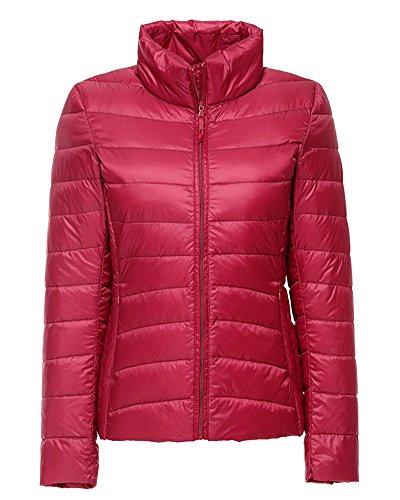 ZhuiKun Damen Daunenjacke Steppjacke Packbar Ultra Leicht Gewicht Daunenmantel Winter Jacke Rot XXL