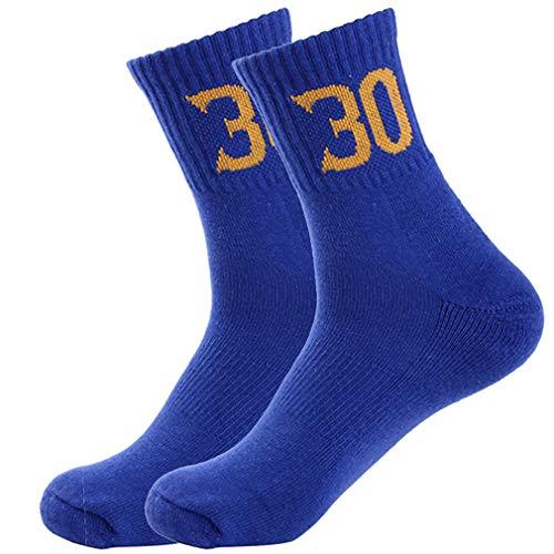 Calcetines de algodón calcetines antideslizantes atléticos de los hombres cómodo y transpirable adolescente Equipo Número Deportes Calcetines (Royal Blue)