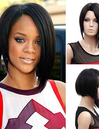 JIAFA BBDM Perruques Natrual Sexy 35 cm de Mode pour Les Femmes Noires Dames Pas Pleins Cheveux synthétiques Perruque Cosplay Perruques de Parti, Black