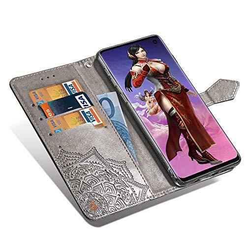 Mking Tech Custodia per Cellulare per Samsung Galaxy S 10 Flip/Porta Carte di Credito/Portafoglio/Chiusura Magnetica Automatica/Anti-Goccia/Guscio di Telefono in Rilievo.