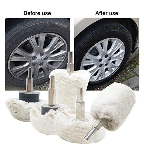 vitihipsy 5 STÜCK Baumwolle Polieren Polieren Pads Radsatz Mopp Rad Bohrer Für Aluminium Edelstahl und Chrom (Kegel/Spalte/Pilz/T-förmig)