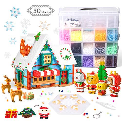 LIHAO 24000pz Perline da Stirare Midi 5mm Colorate per Decorazioni Natale Regalo, Fai Da Te, Kit Gioco Creativo Natalizio per Bambini Adult