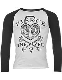 Pierce the Veil Heart Lock Raglan T-Shirt Mens White/Black Music Top Tee T Shirt Small