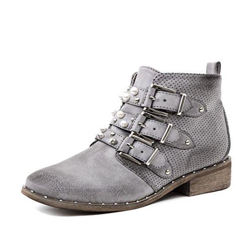 Marimo Damen Stiefel Stiefeletten Biker Boots mit Schnalle und Perlen in Hochwertiger Lederoptik Grau 39