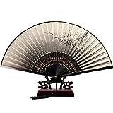 Lzour Ventaglio pieghevole Ventilatori palmari Ventilatori di bambù con nappa per regalo di nozze, bomboniere, decorazioni fai da te 2 pezzi, 1