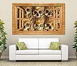 3D Wandtattoo Schädel Knochen antik Skelett Horror Fenster selbstklebend Wandbild Tattoo Wand Aufkleber 11M1598, Wandbild Größe F:ca. 140cmx82cm