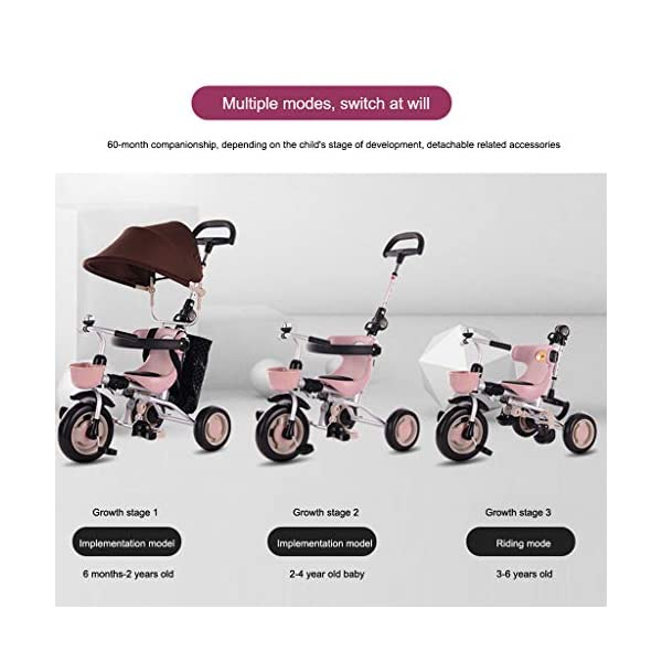 JYY 4-in-1 Baby Tricycle Folding - Kids Pedal Trike with Pushing Handle, Detachable Canopy, Non-slip Pedal, Safety Guard,Brown-1 JYY 4-IN-1 MULTIFUNCTIONAL: A stroller (Foldable) that can become a steering trike, learning to-ride trike and finally a classic trike. 3-Stage trike adjusts as child grows. For baby from 18 months, within 25kg. DURABLE MATERIAL: This push trike is made of High-quality carbon steel frame with superior strength, anti-corrosion and anti-peeling. Adjustable canopy with 600D oxford fabric blocks harmful UV rays. SAFETY DESIGN: High-back support, surrounded guardrail prevent sliding out or overly leaning forward. Hollow wheels prevent clamped feet. 4