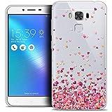 Caseink - Coque Housse Etui pour ASUS Zenfone 3 Max Plus ZC553KL (5.5) [Crystal Gel HD Collection Sweetie Design Heart Flakes - Souple - Ultra Fin - Imprimé en France]