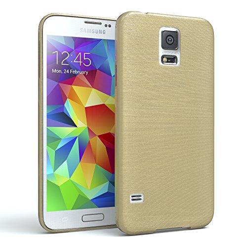 EAZY CASE GmbH Hülle für Samsung Galaxy S5 / S5 LTE+ / S5 Duos / S5 Neo Schutzhülle Silikon, gebürstet, Slimcover in Edelstahl Optik, Handyhülle, TPU Hülle / Soft Case, Backcover, Silikonhülle Brushed, Gold