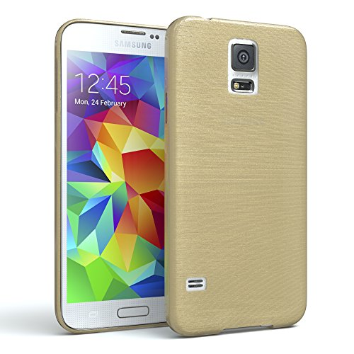 galaxy s5 duos EAZY CASE GmbH Hülle für Samsung Galaxy S5 / S5 LTE+ / S5 Duos / S5 Neo Schutzhülle Silikon, gebürstet, Slimcover in Edelstahl Optik, Handyhülle, TPU Hülle / Soft Case, Backcover, Silikonhülle Brushed, Gold