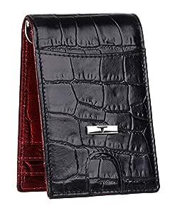 Urban Forest Eddy RFID Blocking Croco Print Black/Dark Red Money Clip Leather Wallet for Men