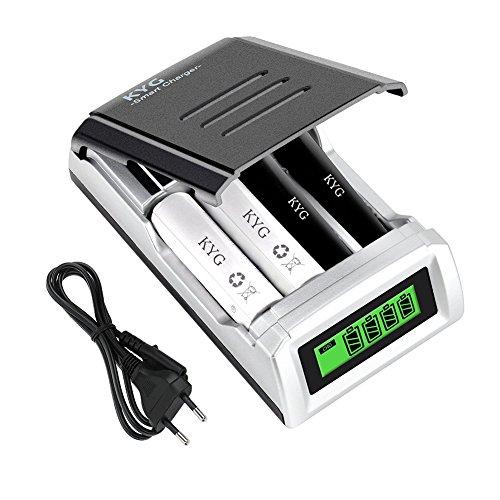 Cargador Rápido de Pilas AA/AAA Ni-MH Ni-Cd, Cargador de Baterías Recargable con Inteligente LCD (baterías no incluidas) [Clase de eficiencia energética A++]