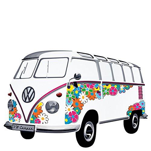 VW Collection by Brisa - Adorno adhesivo para pared, diseño de furgoneta Bulli y flores
