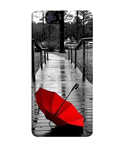 PrintVisa Designer Back Case Cover for Micromax Knight A350 (Red umberella on lonely street)