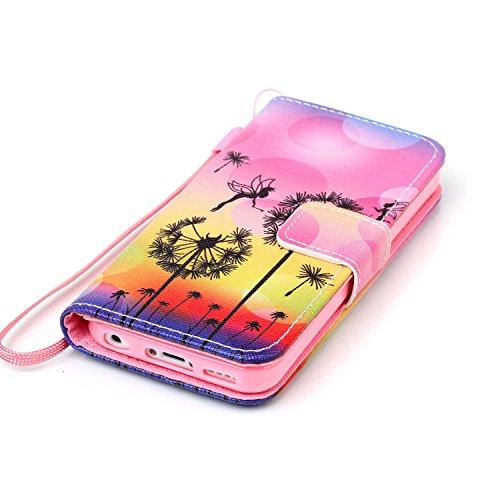 MOONCASE Étui pour iPhone 5 / 5S Printing Series Coque en Cuir Portefeuille Housse de Protection à rabat Case YB10 A07 #1117