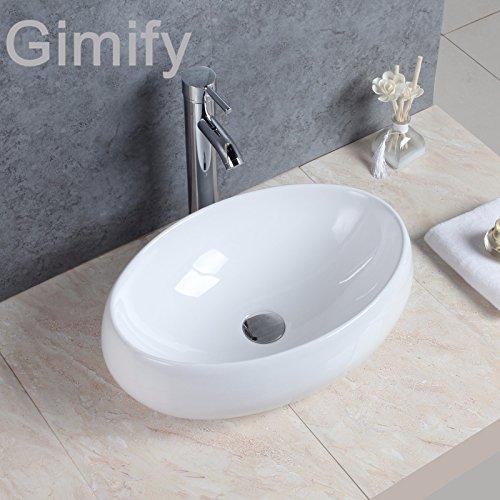 Lavabo per bagno in ceramica, ovale/tondo, da appoggio su piano, colore bianco, stile contemporaneo