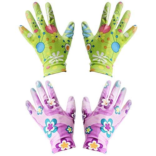 com-four 2er Set Gartenhandschuhe für Damen, Blumenmotiv, aus Latex, Antirutschbeschichtung,...