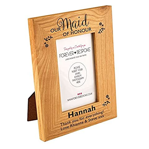 Personalised Maid of Honour Engraved Oak Photo Frame, Bridal Party Thank You Gifts, Wedding