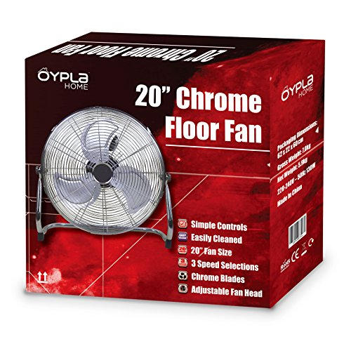 Oypla electrical 20 inch 50cm chrome 3 speed floor for 14 inch chrome floor standing fan