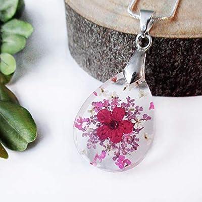 Pendentif fleur Valentine en résine et fleurs séchées - Bijou floral Collier nature en fleurs séchées