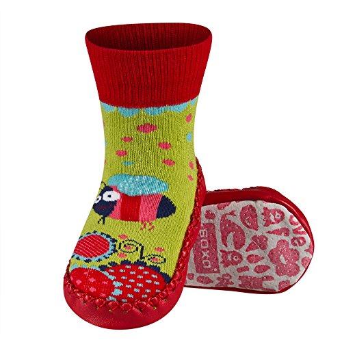 Chaussons chaussettes avec semelle en véritable cuir - Taille EUR 19-21 pour bébé 0-24 Mois PANDA Fille 3-C